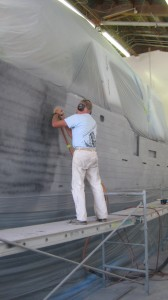 The 48′ Trawler Forager being prepared for final PPG paint