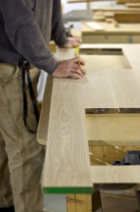 Oak counter tops being prepared for finishing